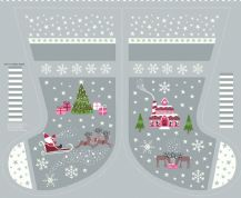 Lewis & Irene - Christmas Glow - 6712 -  Scenic Stocking Panel in Grey - C51.1 - Cotton Fabric